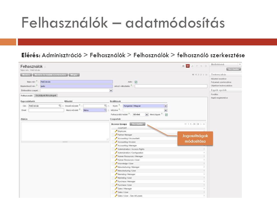 Felhasználók – adatmódosítás