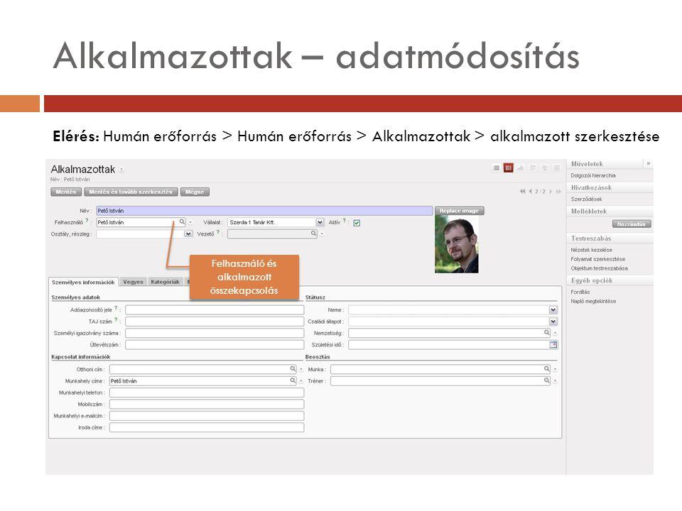 Alkalmazottak – adatmódosítás