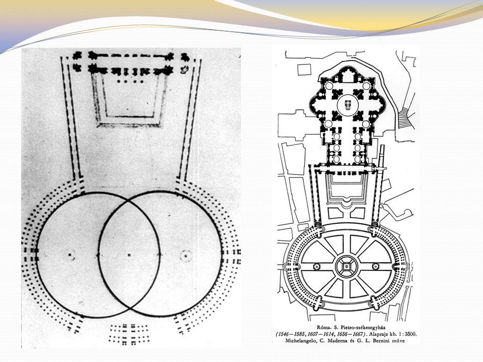 Bernini zsenialitása a tér két részletben való elkészítése: egy trapéz és egy ellipszis.