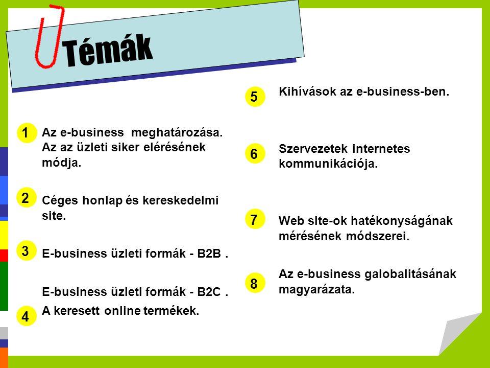 Témák 5 1 6 2 7 3 8 4 Kihívások az e-business-ben.