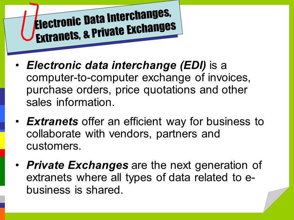 Electronic Data Interchanges, Extranets, & Private Exchanges