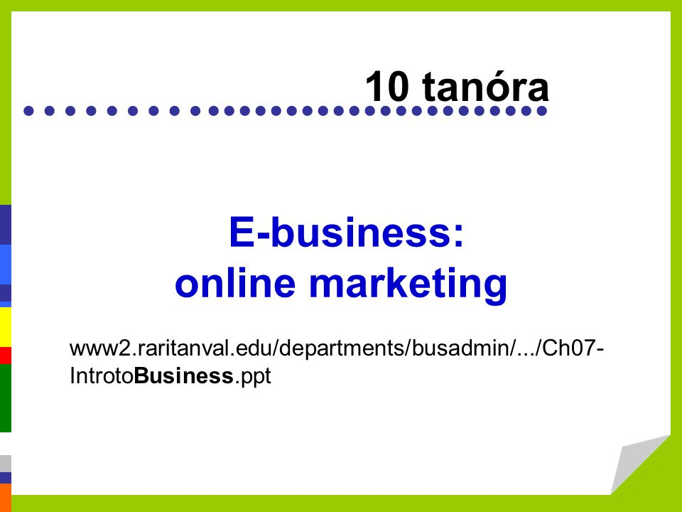 E-business: online marketing