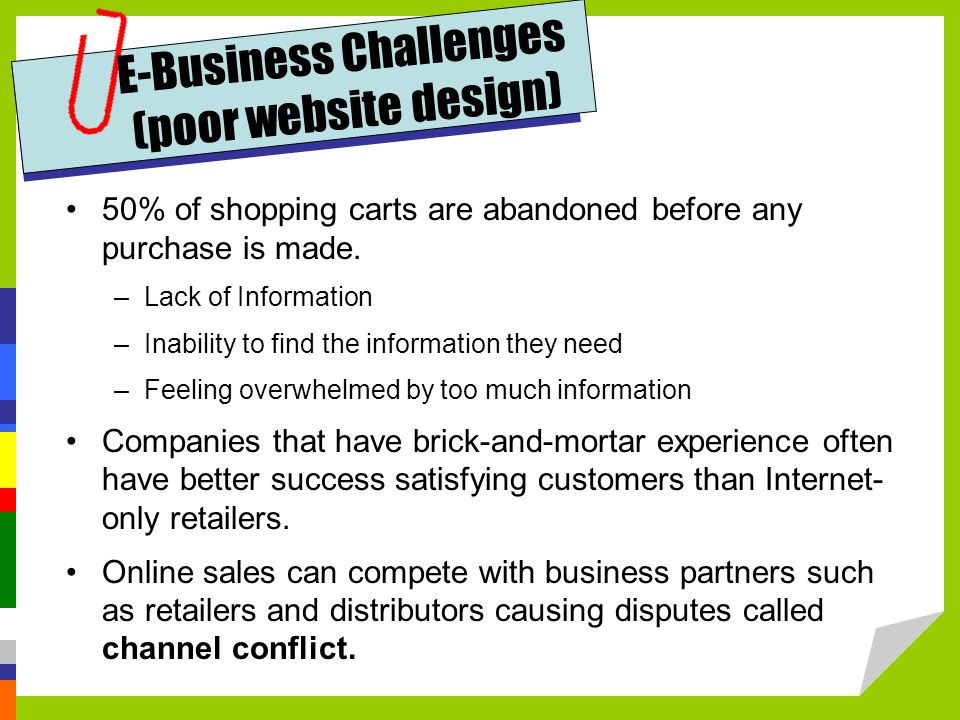 E-Business Challenges (poor website design)