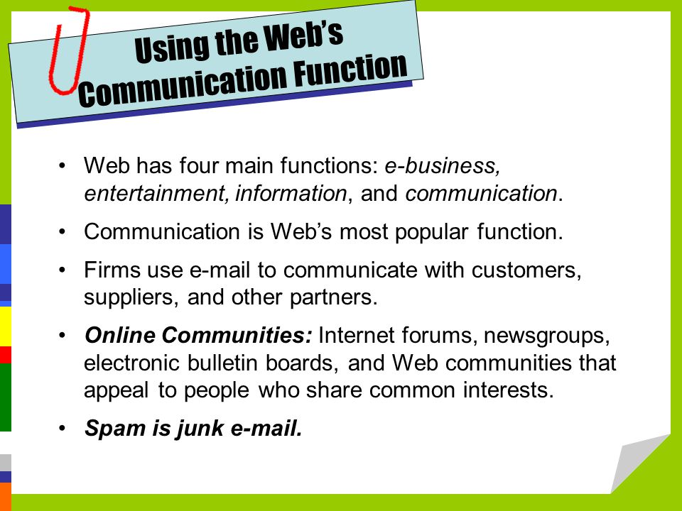 Using the Web's Communication Function