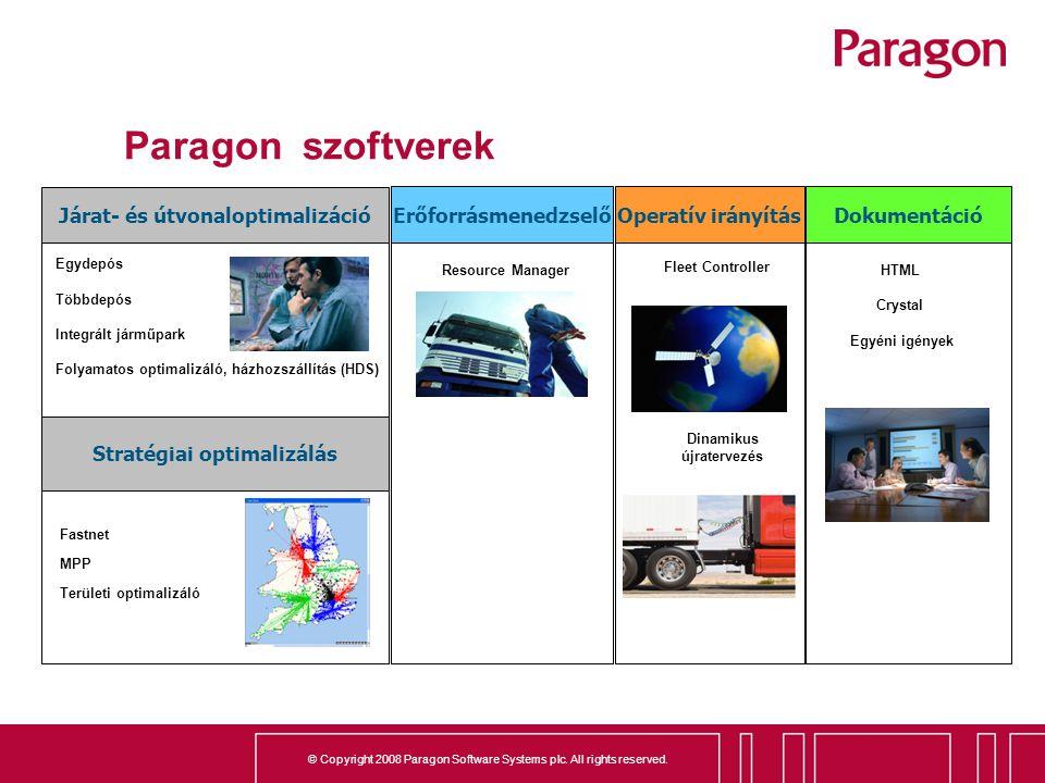 Paragon szoftverek Járat- és útvonaloptimalizáció Erőforrásmenedzselő