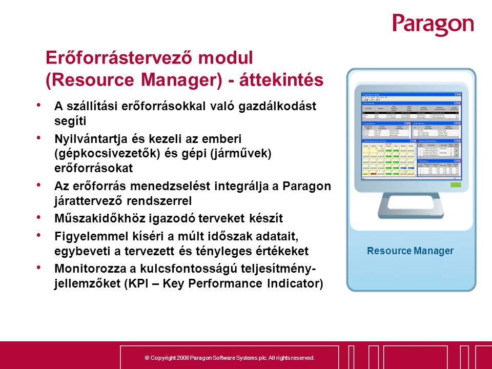 Erőforrástervező modul (Resource Manager) - áttekintés