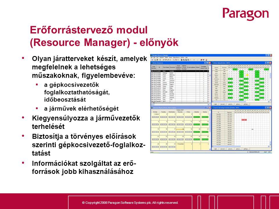 Erőforrástervező modul (Resource Manager) - előnyök