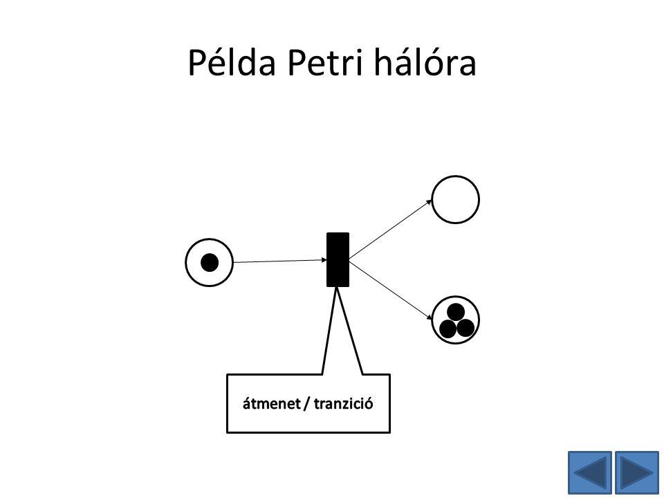 Példa Petri hálóra átmenet / tranzició