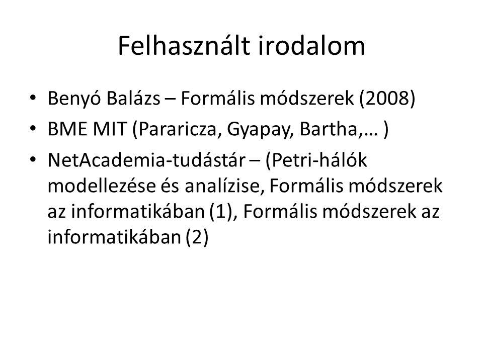 Felhasznált irodalom Benyó Balázs – Formális módszerek (2008)