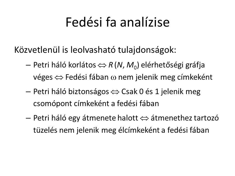 Fedési fa analízise Közvetlenül is leolvasható tulajdonságok: