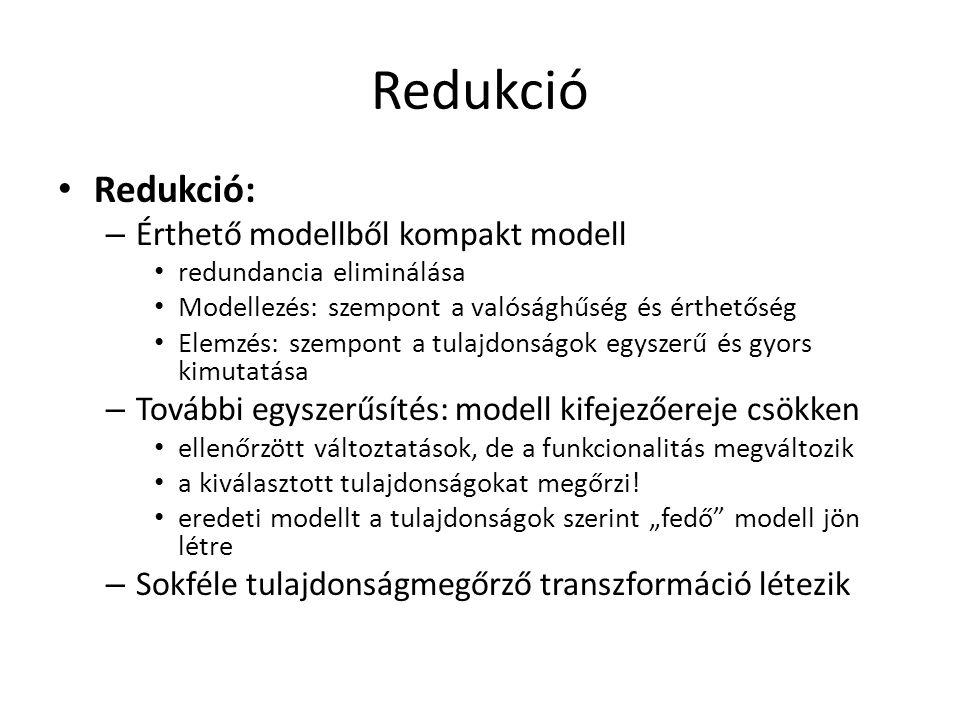Redukció Redukció: Érthető modellből kompakt modell
