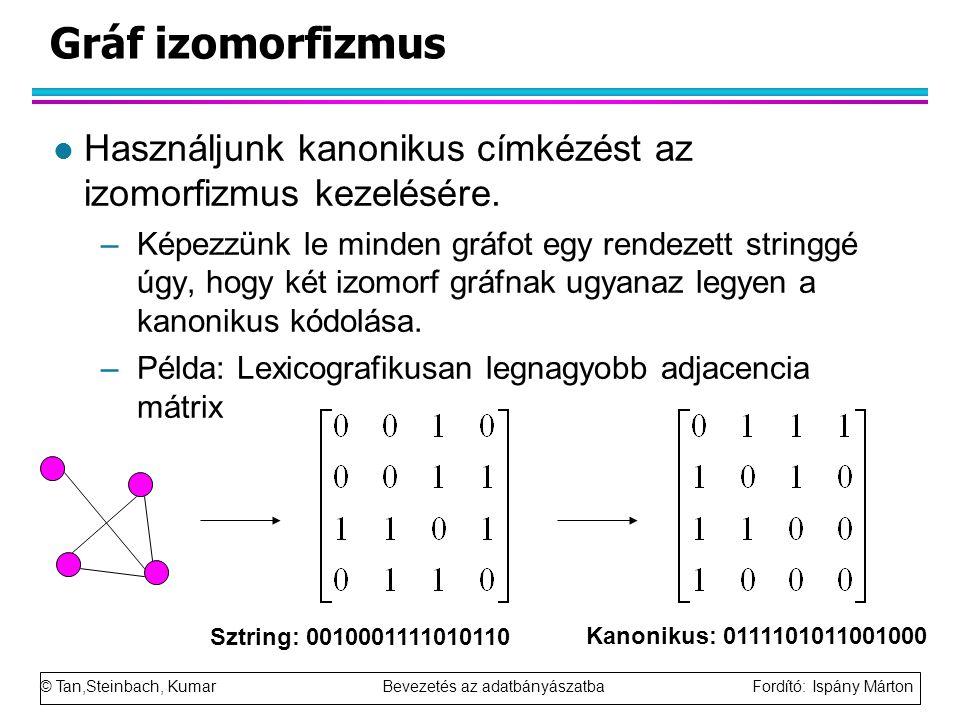 Gráf izomorfizmus Használjunk kanonikus címkézést az izomorfizmus kezelésére.
