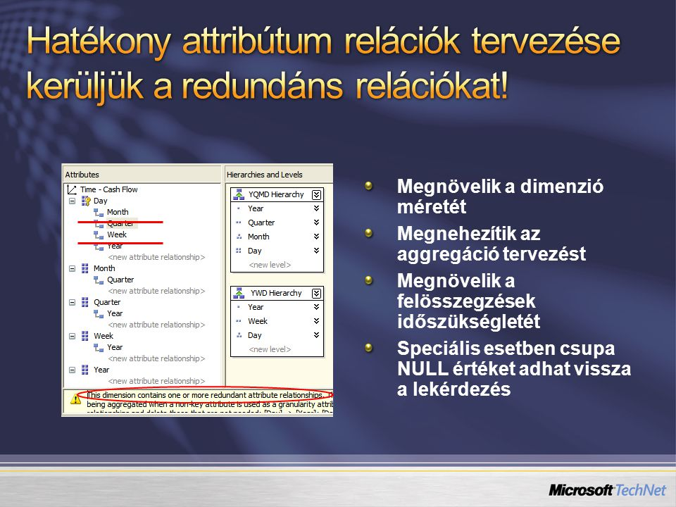 Hatékony attribútum relációk tervezése kerüljük a redundáns relációkat!