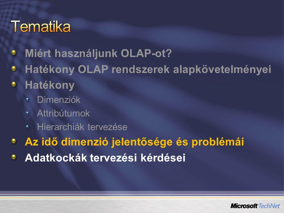 Tematika Miért használjunk OLAP-ot
