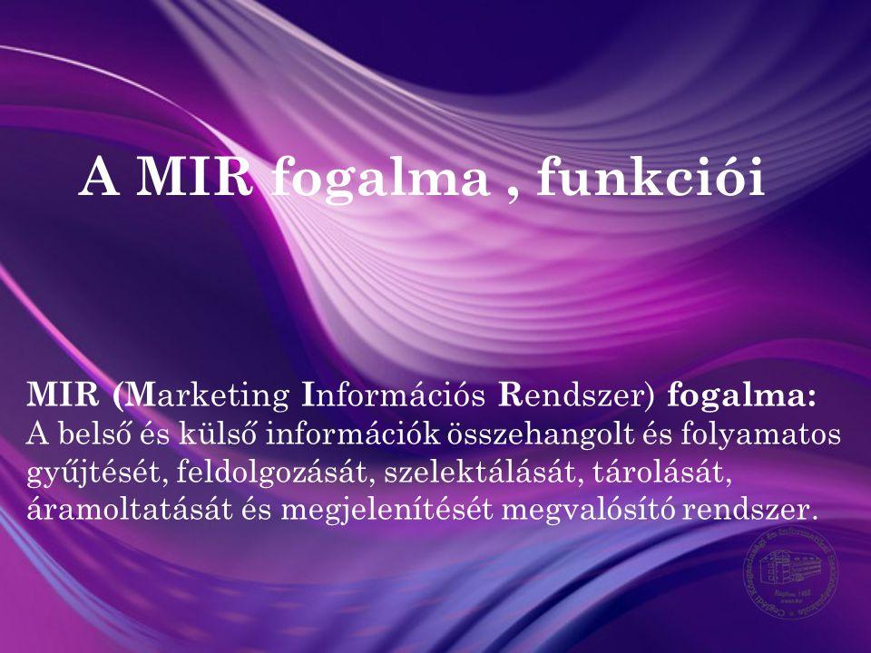 A MIR fogalma , funkciói MIR (Marketing Információs Rendszer) fogalma: