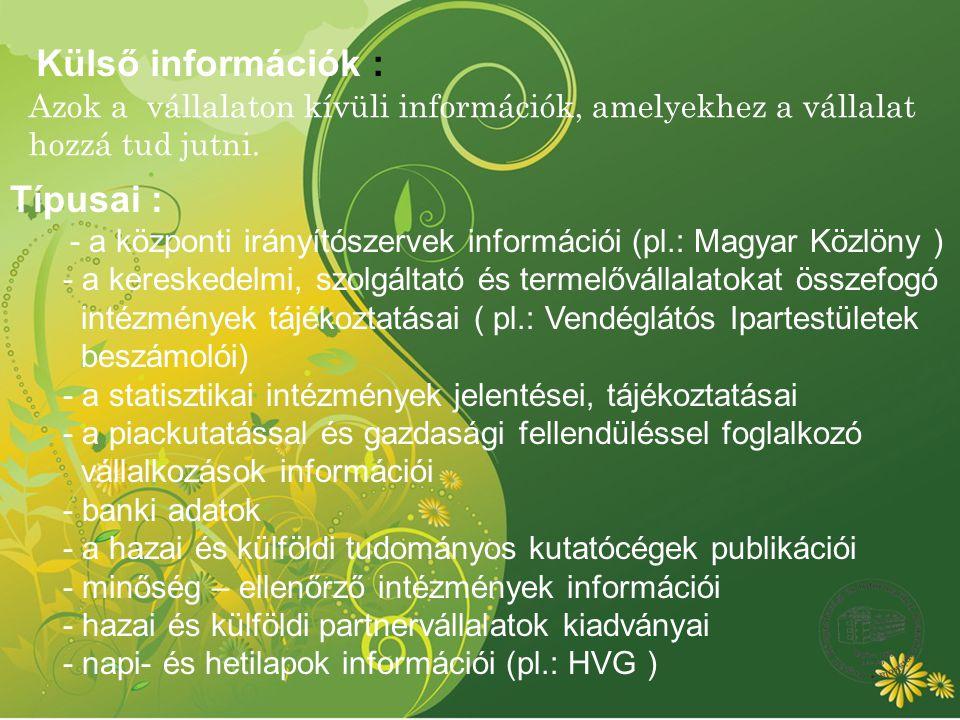 Külső információk : Típusai :