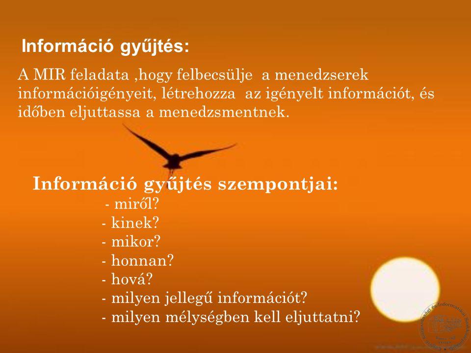 Információ gyűjtés szempontjai: