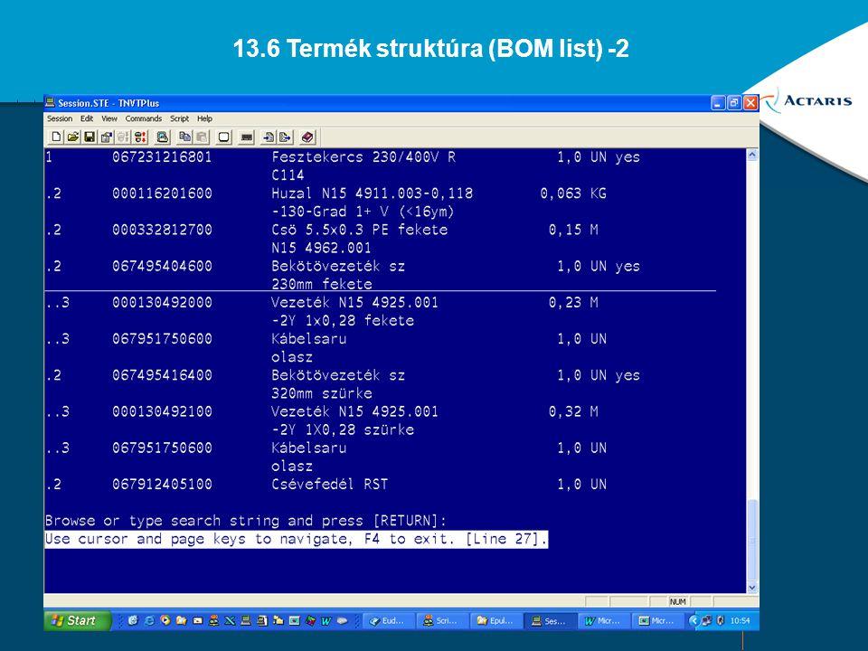 13.6 Termék struktúra (BOM list) -2