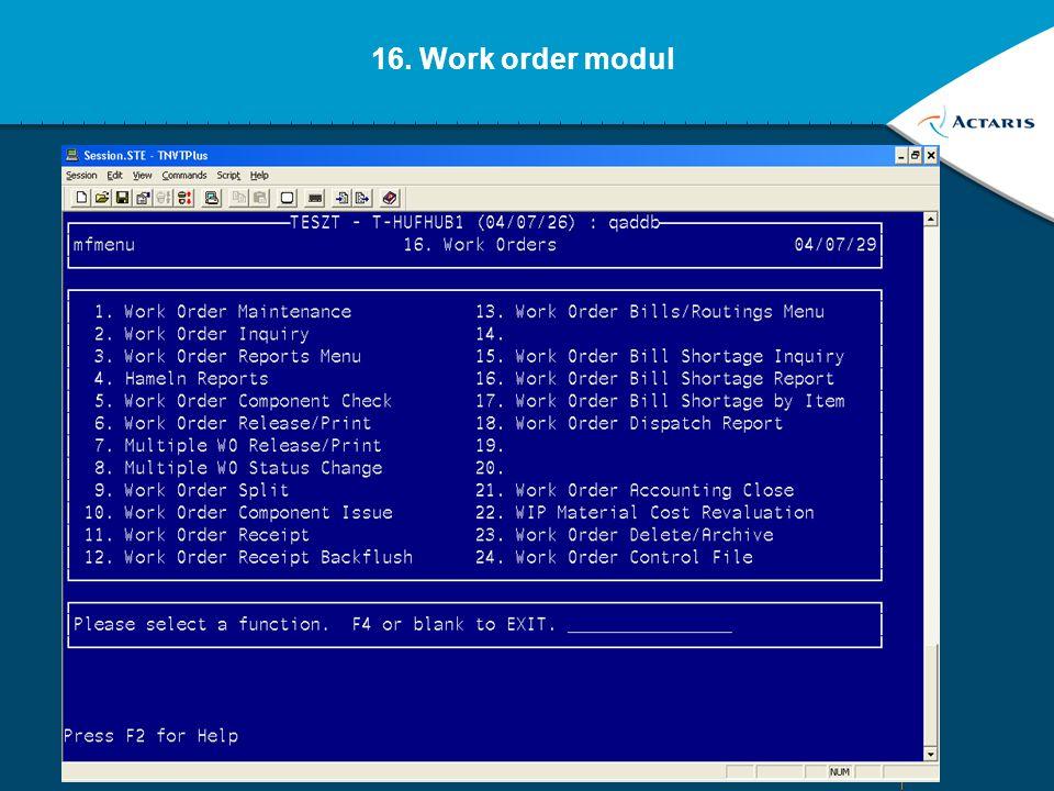 16. Work order modul