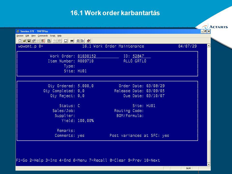 16.1 Work order karbantartás