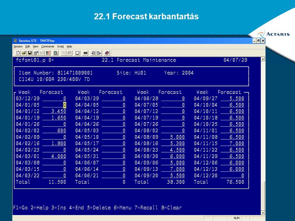 22.1 Forecast karbantartás