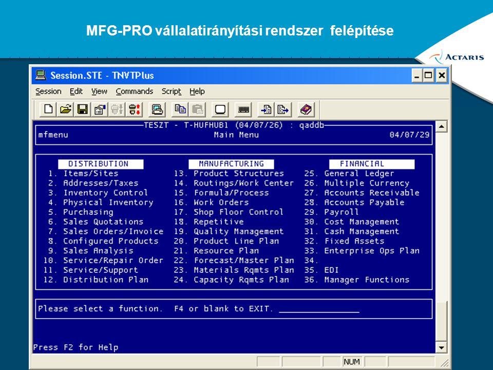 MFG-PRO vállalatirányítási rendszer felépítése