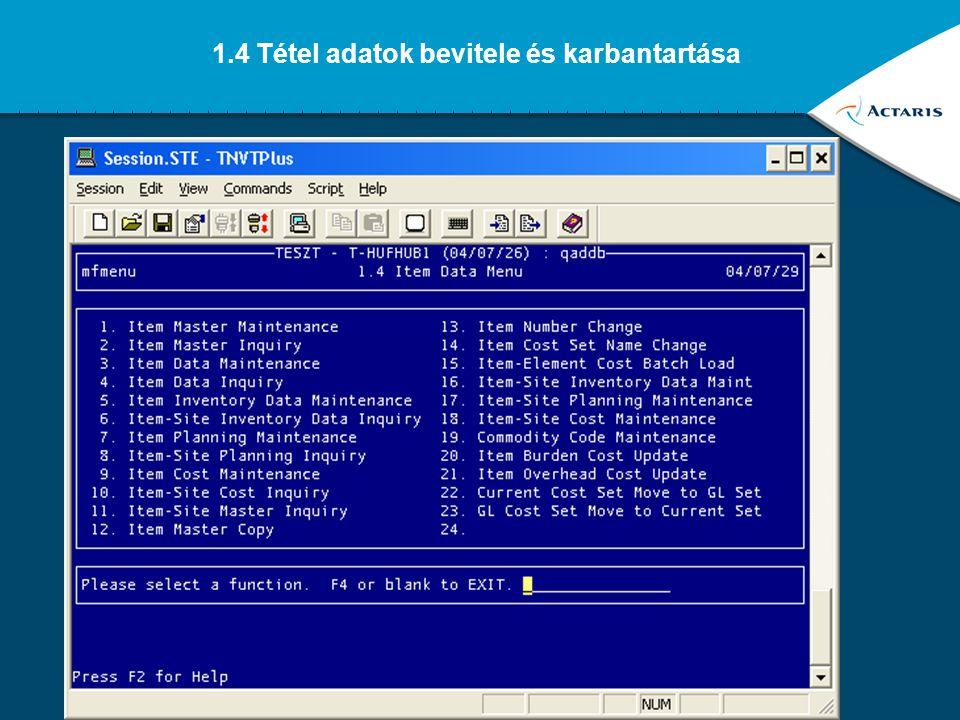 1.4 Tétel adatok bevitele és karbantartása