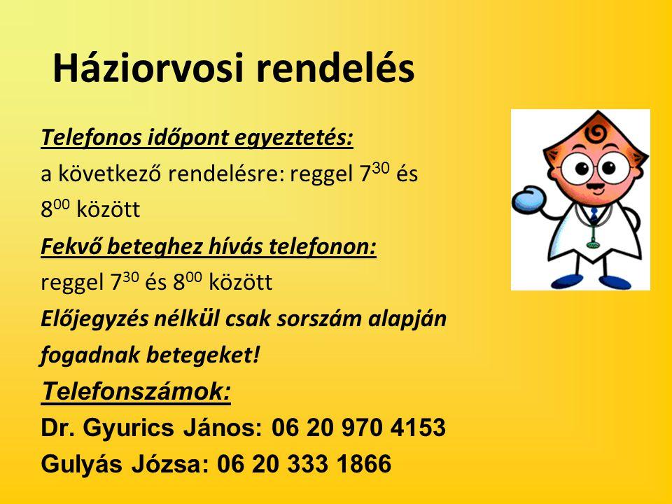 Háziorvosi rendelés Telefonos időpont egyeztetés:
