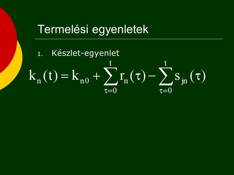 Termelési egyenletek Készlet-egyenlet