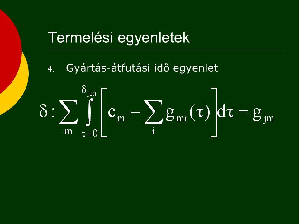 Termelési egyenletek Gyártás-átfutási idő egyenlet