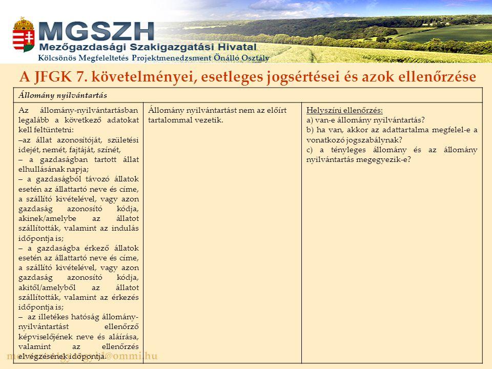 A JFGK 7. követelményei, esetleges jogsértései és azok ellenőrzése