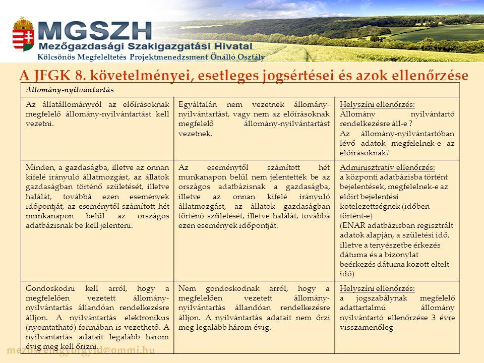 A JFGK 8. követelményei, esetleges jogsértései és azok ellenőrzése