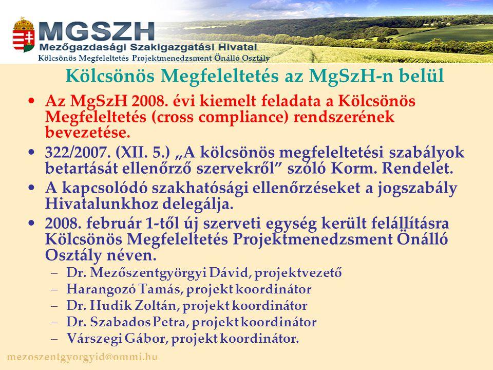 Kölcsönös Megfeleltetés az MgSzH-n belül