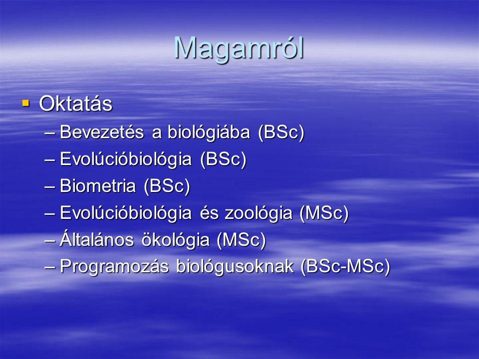 Magamról Oktatás Bevezetés a biológiába (BSc) Evolúcióbiológia (BSc)