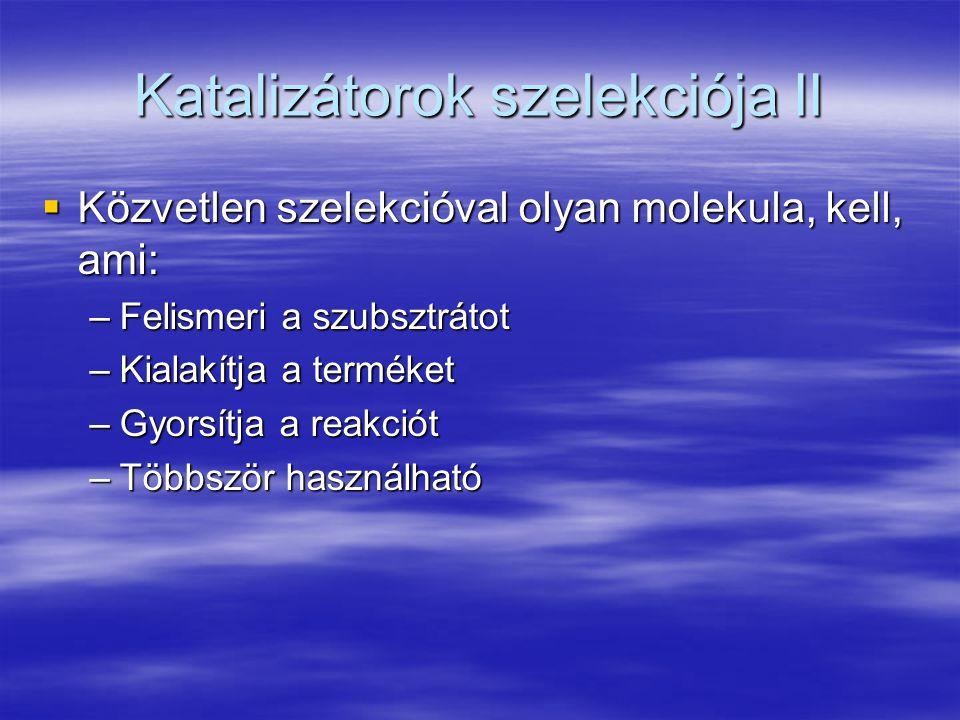 Katalizátorok szelekciója II