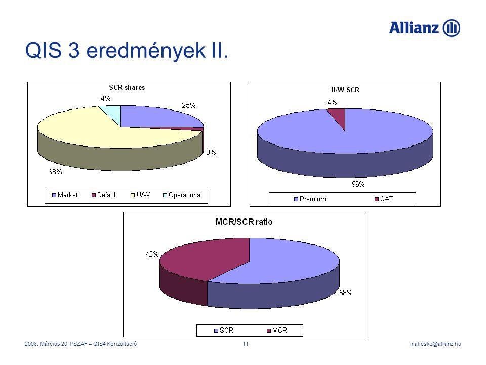 QIS 3 eredmények II. 2008. Március 20. PSZAF – QIS4 Konzultáció