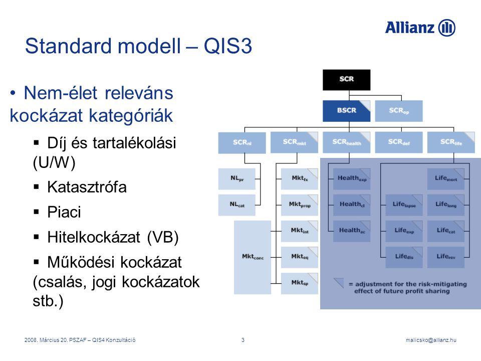 Standard modell – QIS3 Nem-élet releváns kockázat kategóriák