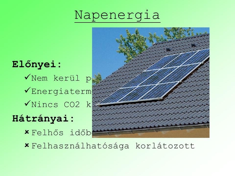 Napenergia Előnyei: Hátrányai: Nem kerül pénzbe