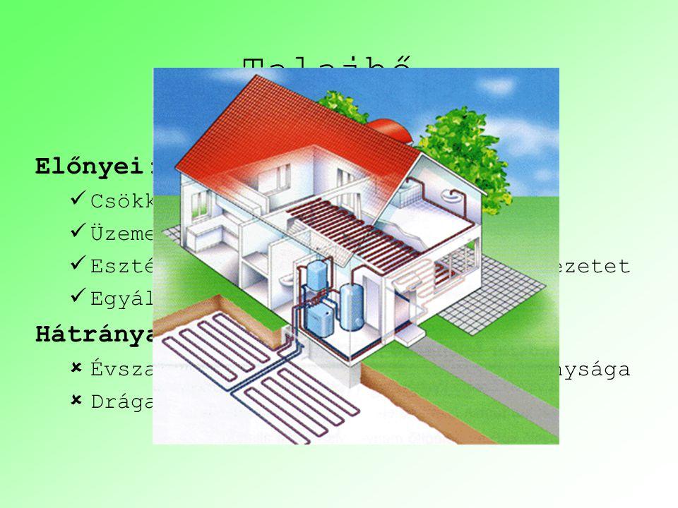 Talajhő Előnyei: Hátrányai: Csökkenti a fűtésszámlát
