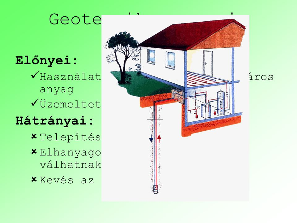 Geotermikus energia Előnyei: Hátrányai: