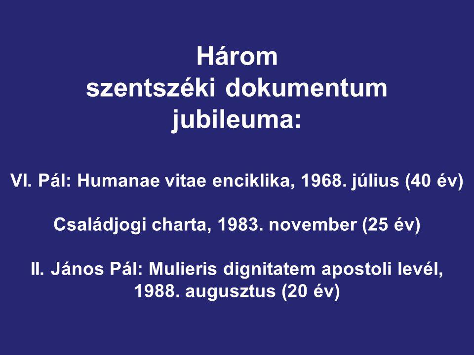 Három szentszéki dokumentum jubileuma: VI