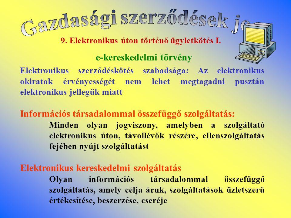 Gazdasági szerződések joga 9. Elektronikus úton történő ügyletkötés I.