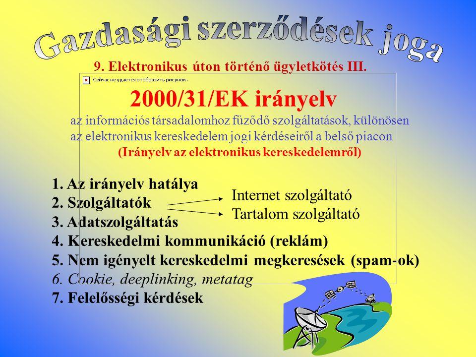 2000/31/EK irányelv Gazdasági szerződések joga 1. Az irányelv hatálya