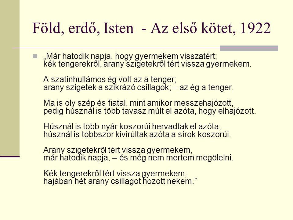 Föld, erdő, Isten - Az első kötet, 1922