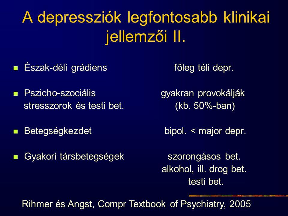 A depressziók legfontosabb klinikai jellemzői II.