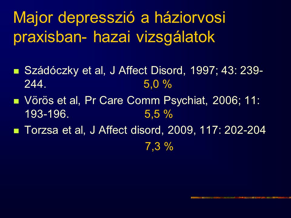 Major depresszió a háziorvosi praxisban- hazai vizsgálatok
