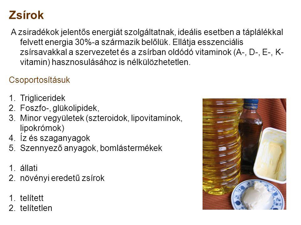 Zsírok Csoportosításuk Trigliceridek Foszfo-, glükolipidek,