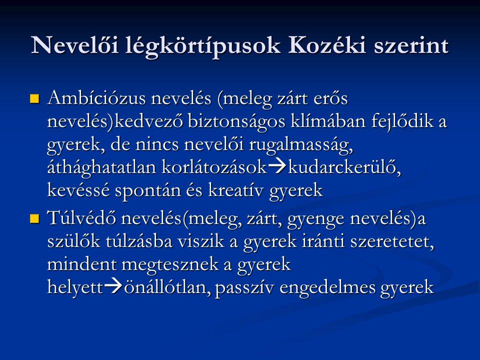 Nevelői légkörtípusok Kozéki szerint