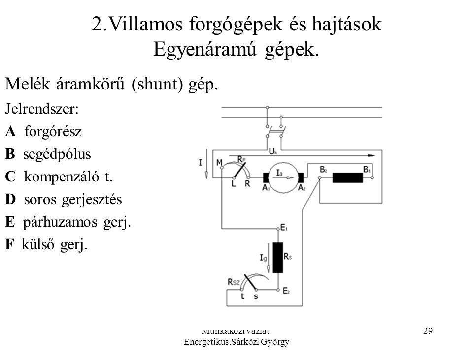 2.Villamos forgógépek és hajtások Egyenáramú gépek.