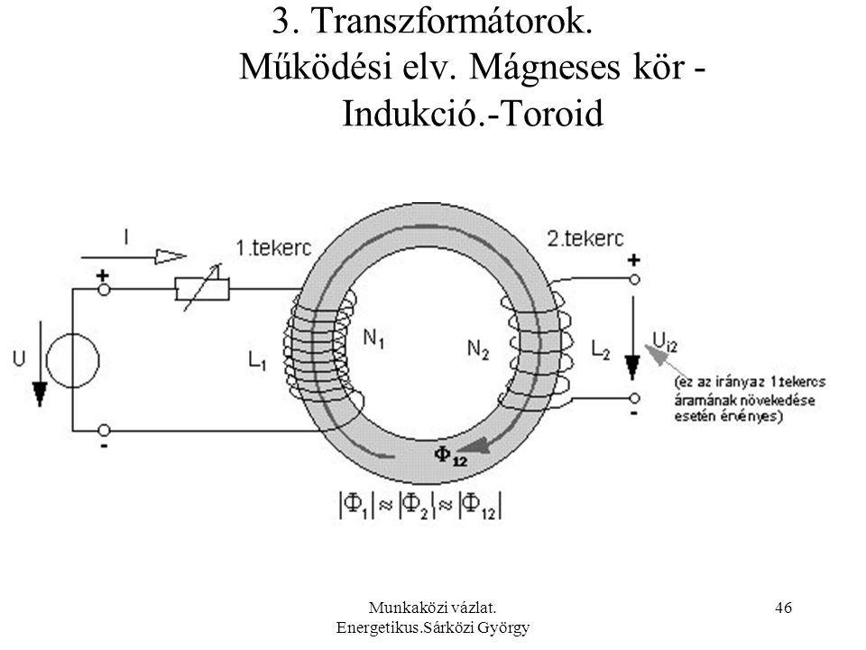 3. Transzformátorok. Működési elv. Mágneses kör - Indukció.-Toroid